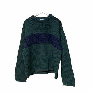J.Crew Handknit 100% Wool Green Chunky Sweater